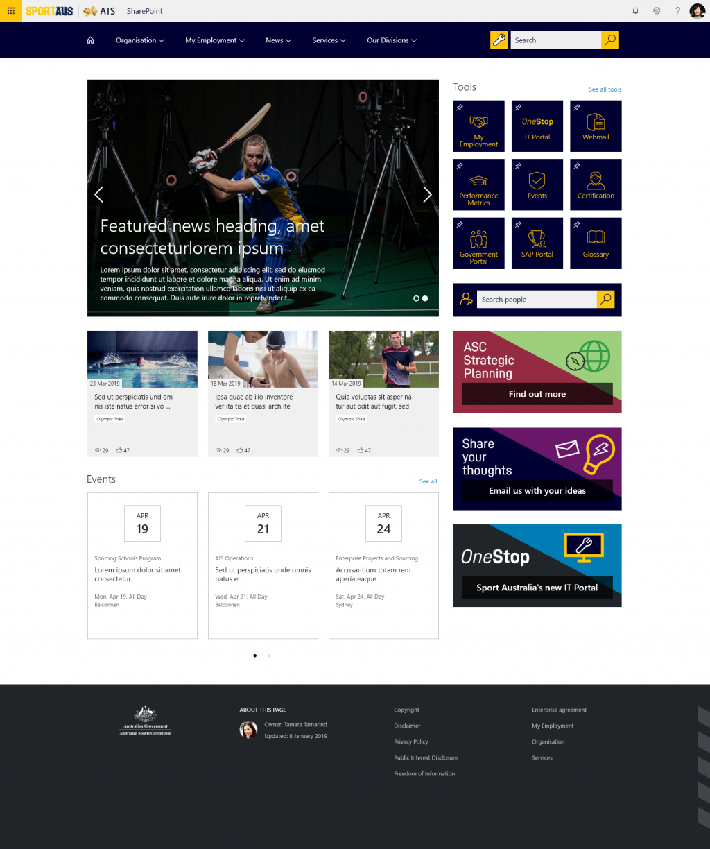 Sports Australia Home Desktop