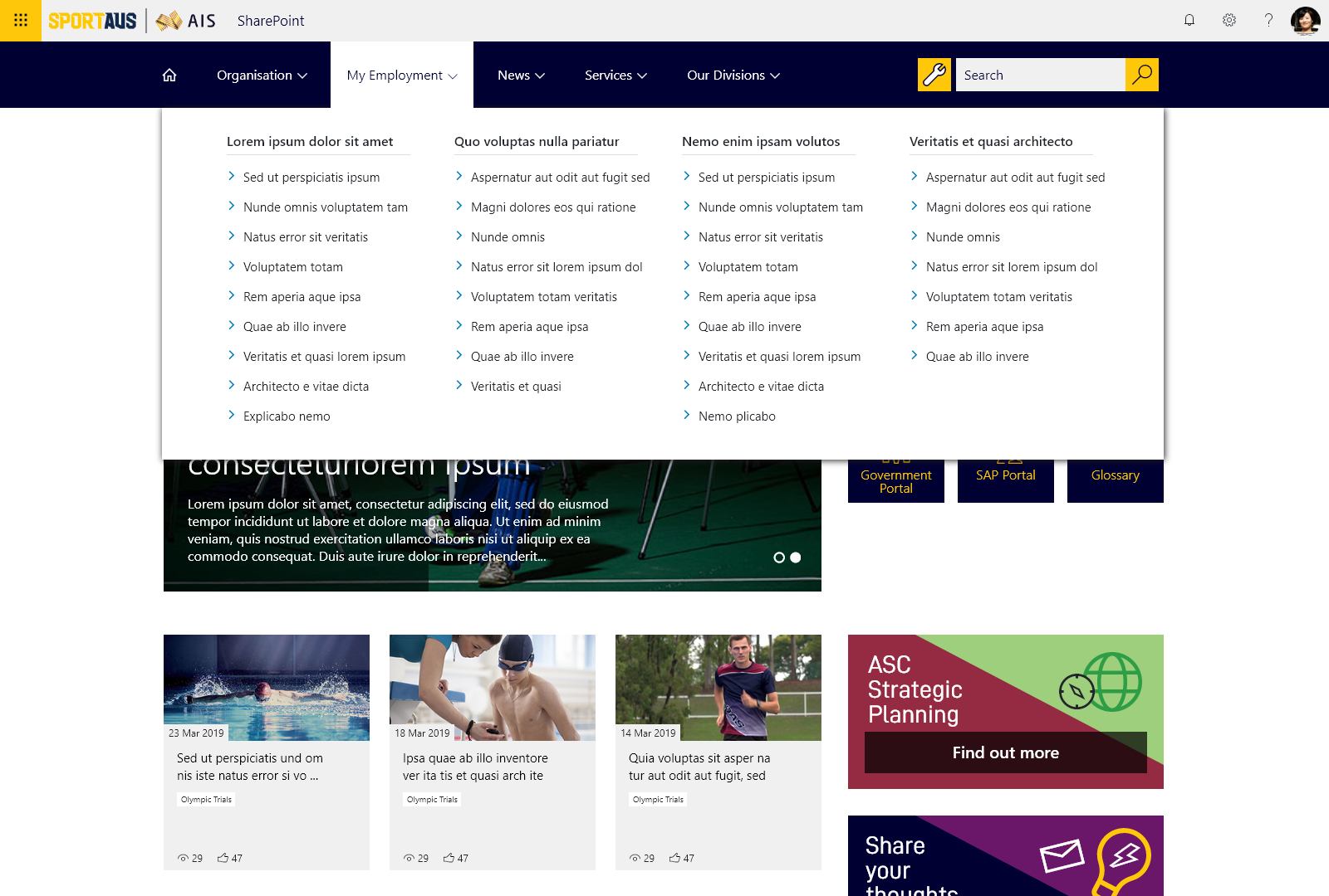Sports Australia Mega Menu Desktop