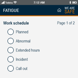 YVW safety app - fatigue questions