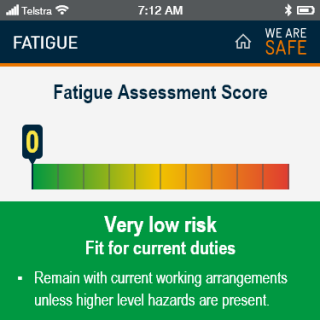 YVW safety app - fatigue score very low