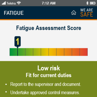 YVW safety app - fatigue score low