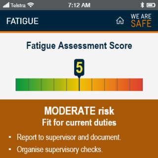YVW safety app - fatigue score moderate