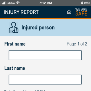 YVW safety app - injury details
