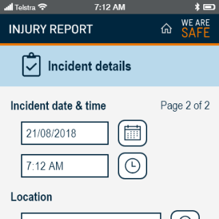 YVW safety app - injury incident