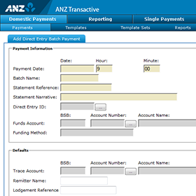 ANZ Transactive CMP direct entry payment