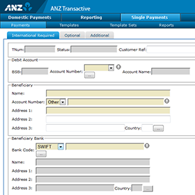 ANZ Transactive CMP international payment