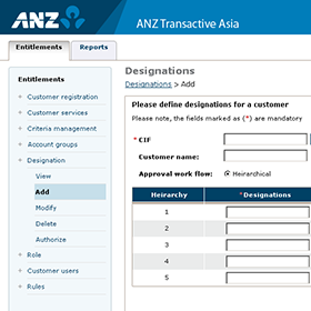 ANZ Transactive Asia back office entitlements