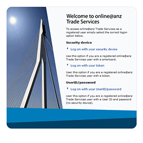 ANZ Transactive Asia welcome screen