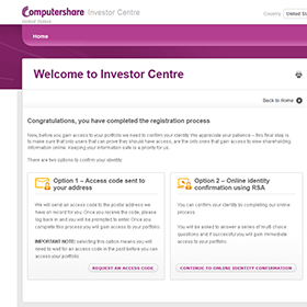 Computershare Investor Centre desktop app customer registration