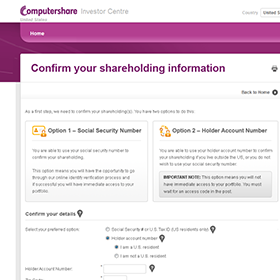 Computershare Investor Centre desktop app registration workflow